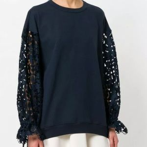 See By Chloe navy blue lace floral draped sweater